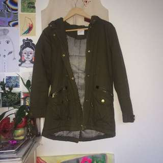 WARM GREEN KHAKI JACKET WITH HOOD