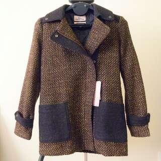BERSHKA Tweed Biker Coat Jacket