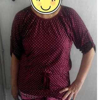 (Banyak Warna & Motif|Cuci Gudang) Baju Blouse Tali Pinggang Tangan 3/4 Kancing