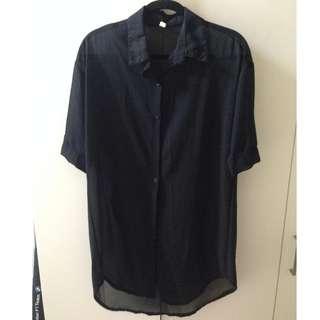 【衣物出清】全新 黑色雪紡 中長版襯衫 百搭 便宜出清