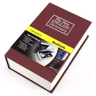 Kotak Rahasia - Security Dictionary Cash Metal Jewelry Key Lock Book Storage