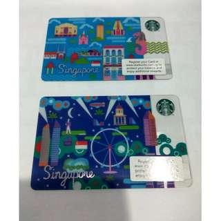 1 set Starbucks cards singapore day & night