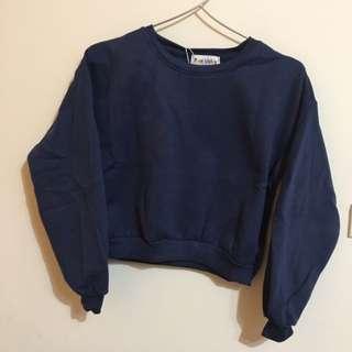 藍色 短版 衛衣