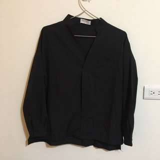 韓國 黑色 開襟 襯衫