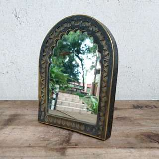 Small Vintage Mirror with Brass Frame