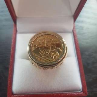 Solid Gold Sovereign Ring