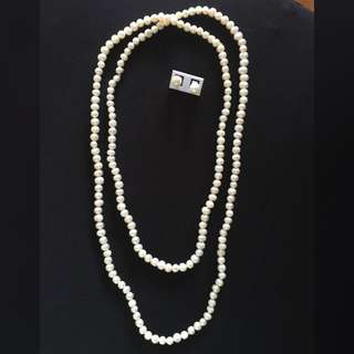 Necklace And Earrings Set (Freshwater pearl)