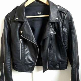 Cute Cropped Black Leather Jacket Size 8
