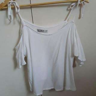 Cute White Off The Shoulder Singlet