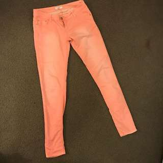 Peach Pink TEMT Jeans