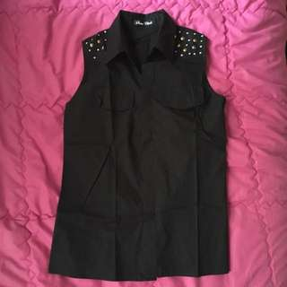 Studded No Sleeves Blouse