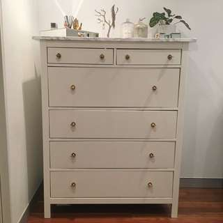 Marble & Antique Brass Dresser