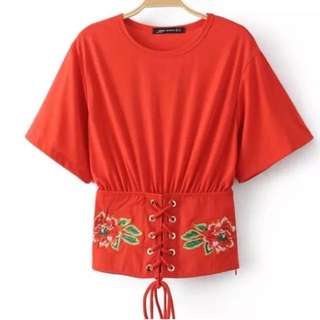 Embrodery Top Red
