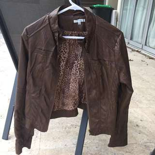 Brown Leather Jacket Valleygirl Size 10
