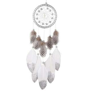 Handmade Silver Bead Dreamcatcher Wind Chimes Indian Style Feather Pendant Dream Catcher/ Creative Car Hanging Decoration. Pre Order. Col: Black / White