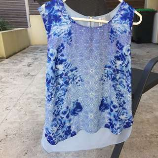 Forever new Blue Floral Shirt Singlet Blouse Size 10