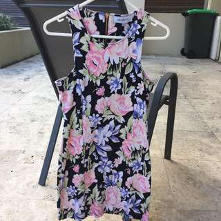 MAURIE & EVE PATTERN BODYCON DRESS SIZE 10 PINK FLORAL PARADISE
