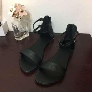 韓版黑色繫帶一字涼鞋