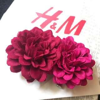 H&M HM 超值2入雙色重瓣花朵髮夾/髮飾/夾/頭飾~婚禮 禮服 派對 浪漫