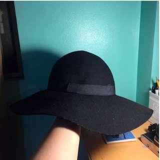 Black Cotton On Wool Hat