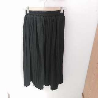全新 黑 百褶裙 鬆緊 百褶長裙