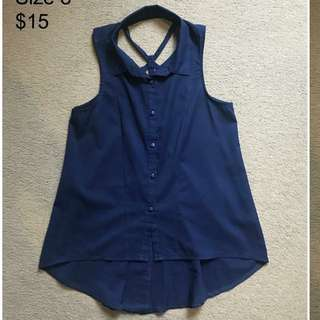 Navy Singlet Shirt With Feature Back