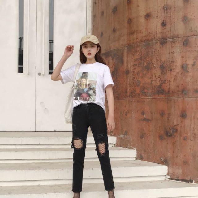 黑色單寧牛仔褲