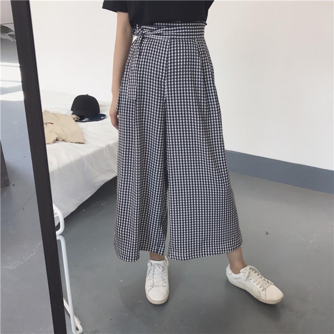 黑白復古格子高腰褲
