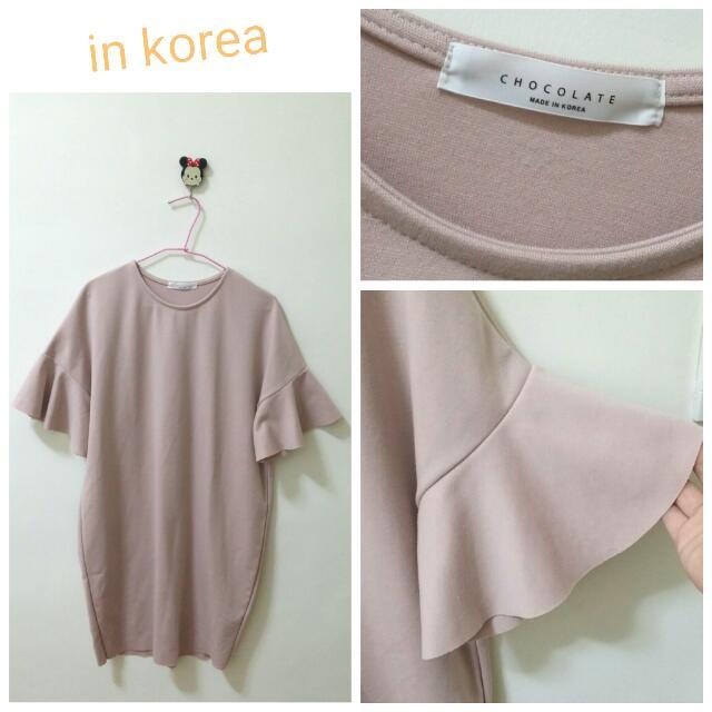 👉正韓👈藕粉色大荷葉袖洋裝
