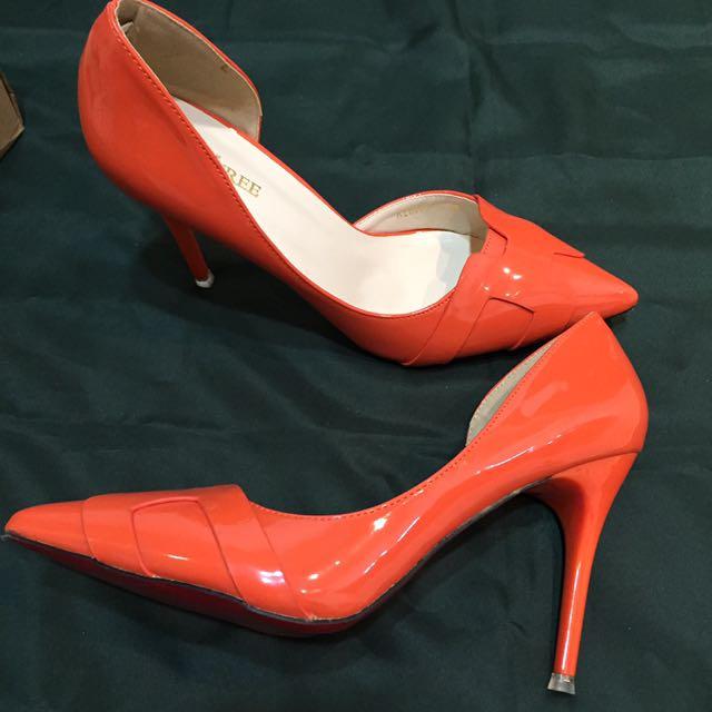 _媽媽©衣櫥_全新亮橘紅底高跟鞋