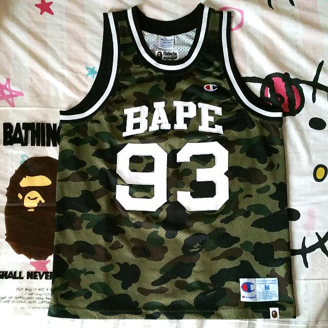 57dc4b488 A Bathing Ape x Champion Green Camo Basketball Jersey., Men's Fashion,  Clothes on Carousell