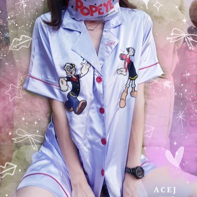 ACEJ2017韓春夏絲綢大力水手卜派家居服 睡衣套裝三件組-現貨+預購