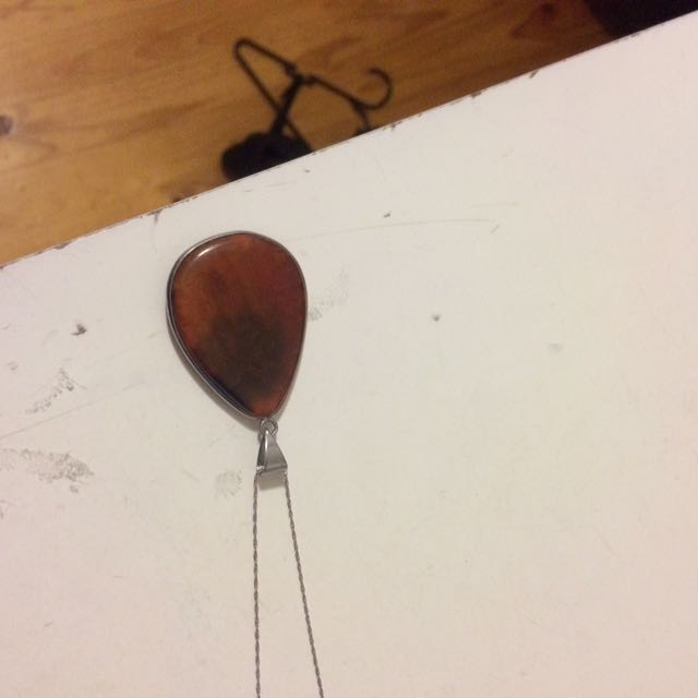 Amber Pendant & Sterling Silver Chain