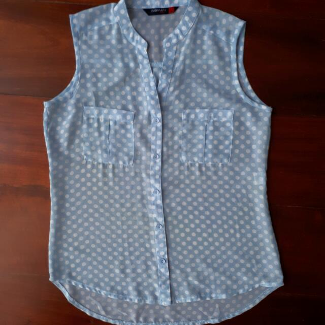 Baby Blue Polkadot Sm Woman Career Top