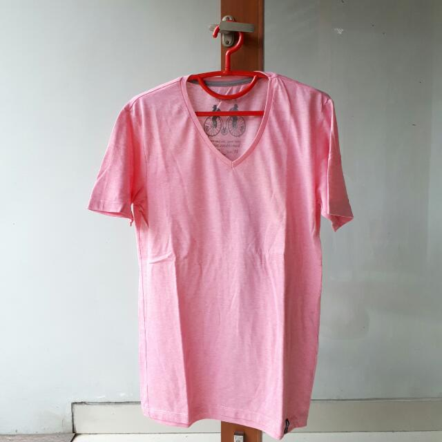 Bershka Pink V Neck Tshirt Kaos