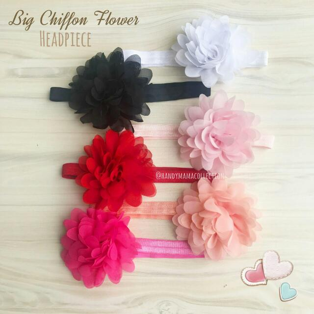 Big Chiffon Flower Headpiece