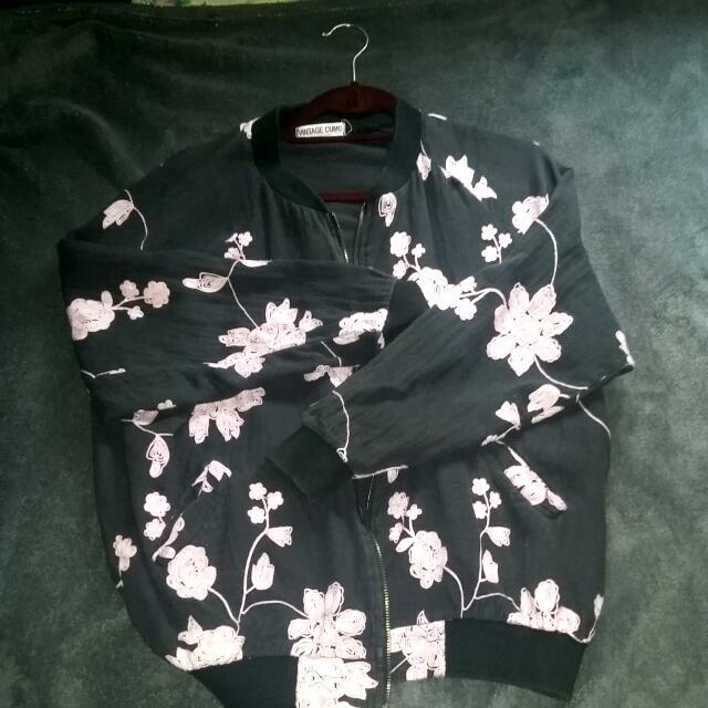 Black And Pink Floral Bomber Jacket