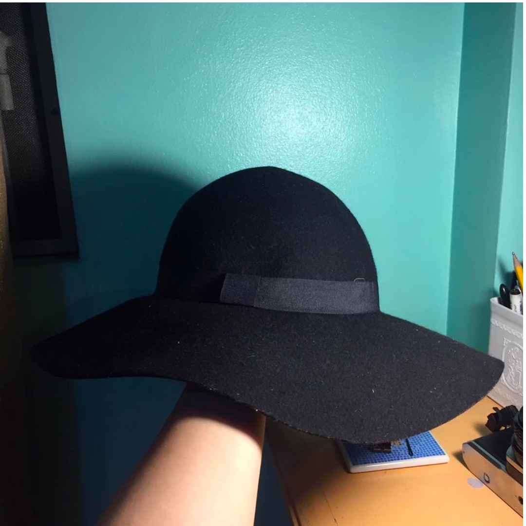 Black Cotton On Wool Hat