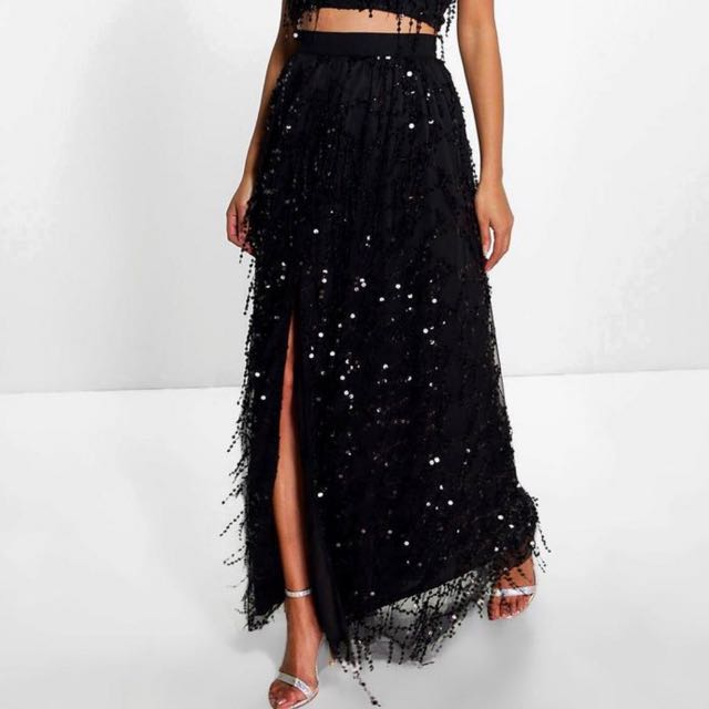 Boohoo High Waisted Slit Sequin Maxi Skirt