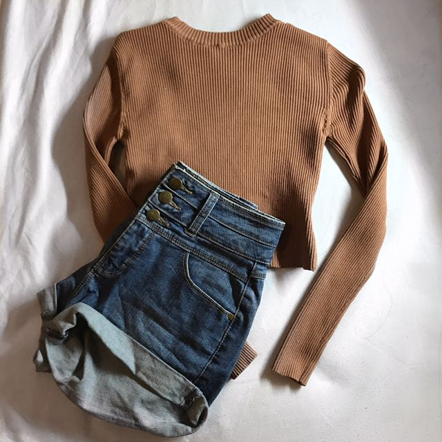Brown Ribbed Cropped Long Sleeve