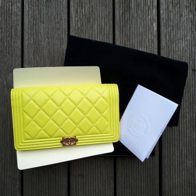 Chanel Boy Wallet Lime