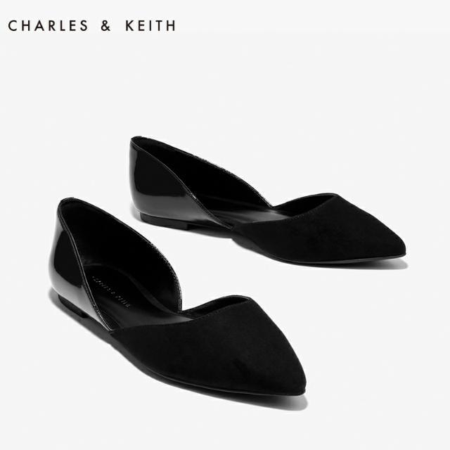 Charles&Keith黑色側鏤空尖頭平底鞋/35號