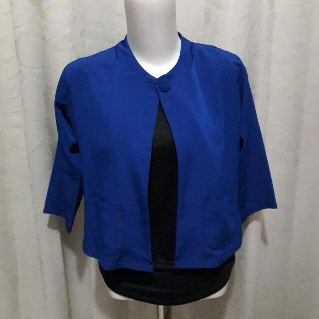 Crop Blazer Blue