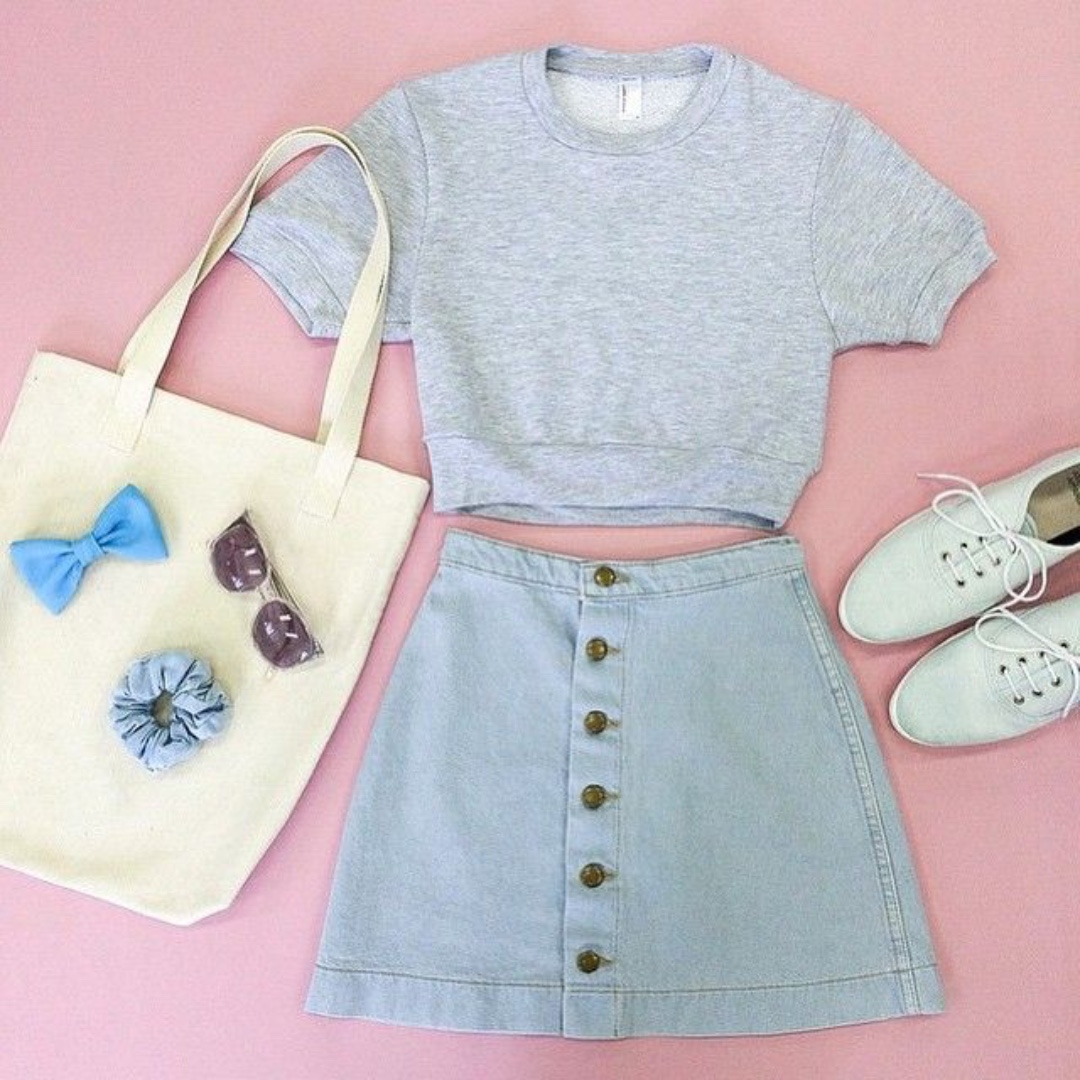 Denim A Line Button Up Skirt