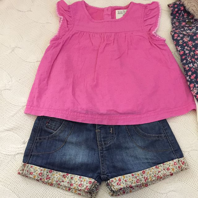 Girls Mixed Clothing Size 18-24 Months And Size 3 Adjustable Shorts