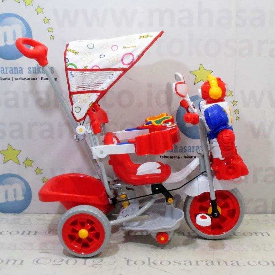 Ongkir Jigo Jakarta Family F845FT Robot Suspensi Musik Dobel Bintang Ban Jumbo Sepeda Roda Tiga Red