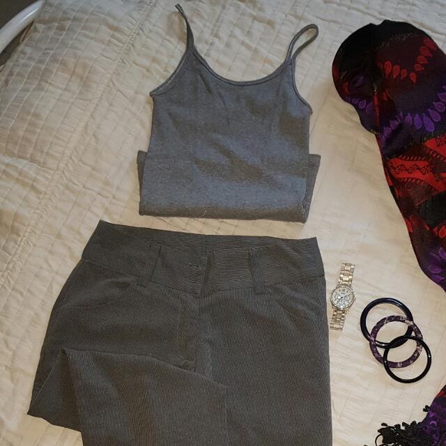 Gray tank & slacks pair