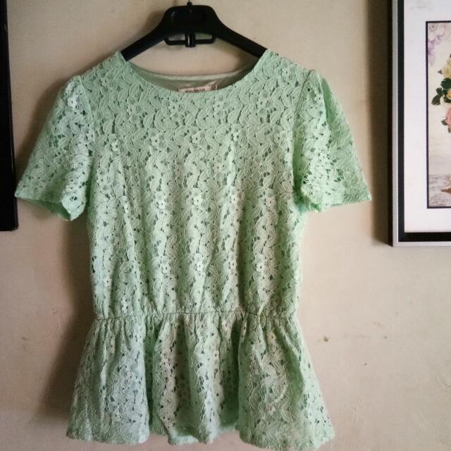 Green Mint Peplum Korean Shirt
