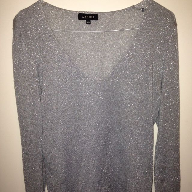 Grey / Blue Sparkly Knit Jumper Sweater