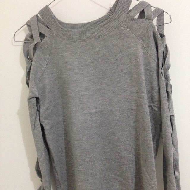 Grey Lattice Long Sleeve Top